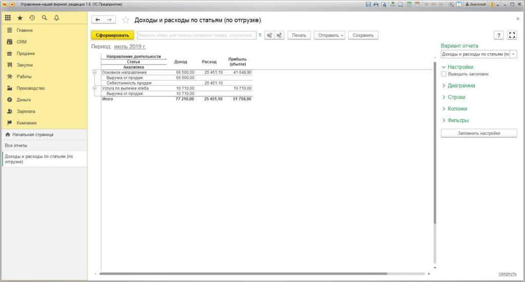 1с унф - отчет о доходах и расходах по отгрузке